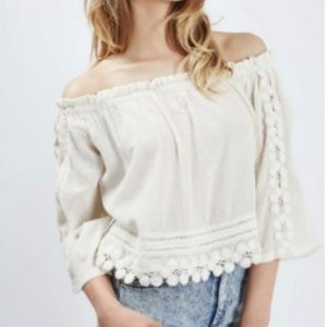Crochet Creme TopShop Off the Shoulder Top